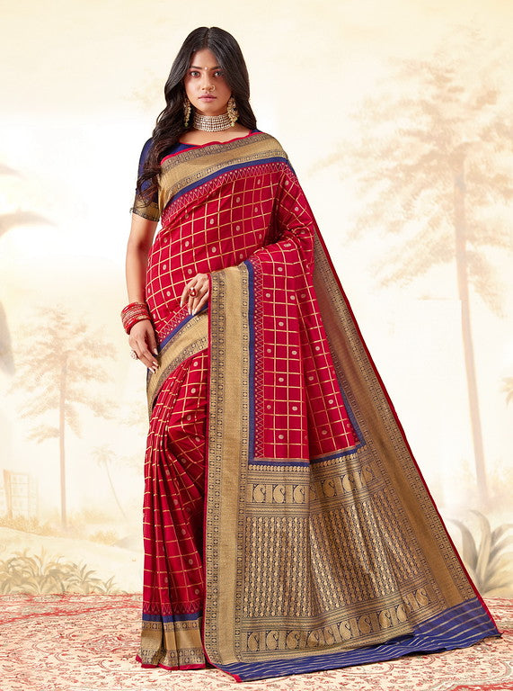 Cream and Red  Color Gadhwal Silk Wedding Sarees- Shivay  Collection YF#10324