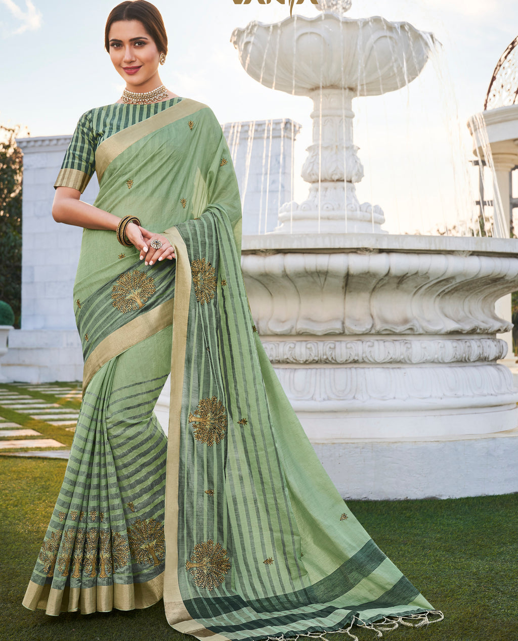 Pastel Green Color Banarasi Cotton Silk  Sarees For Newly Wedded NYF-5697