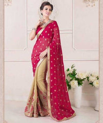 Light Coffee & Pink Color Georgette Party Wear Sarees : Ruprani Collection  YF-27447