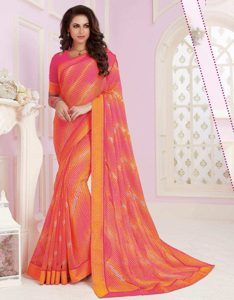 Pink & Orange Color Chiffon Party & Function Wear Sarees :  Praniti Collection  NYF-2277 - YellowFashion.in