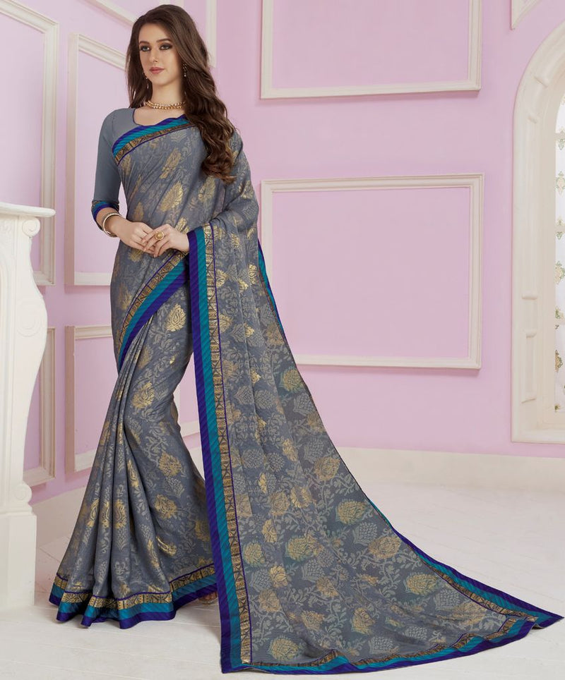 Grey Color Linen Cotton Party & Function Wear Sarees :  Praniti Collection  NYF-2278 - YellowFashion.in