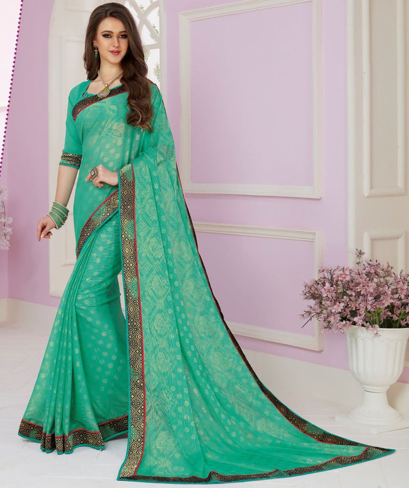 Sea Green Color Chiffon Party & Function Wear Sarees :  Praniti Collection  NYF-2281 - YellowFashion.in