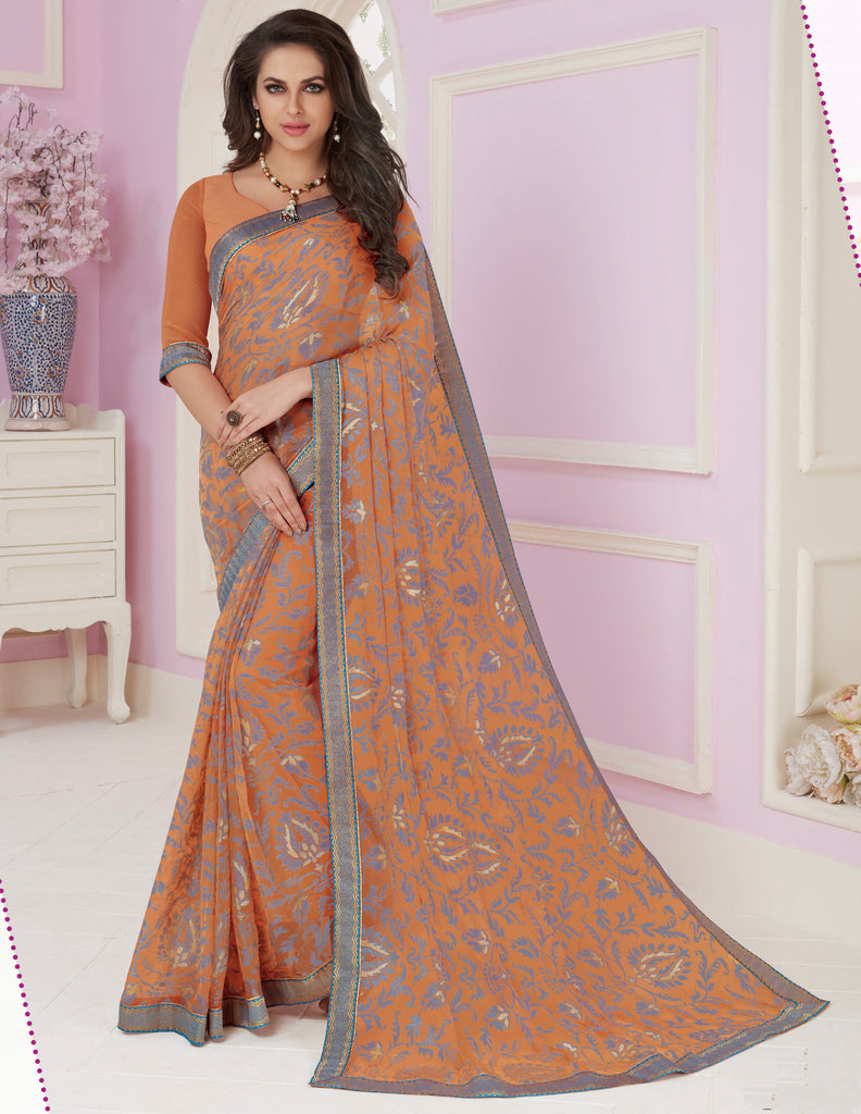 Light Orange & Grey Color Chiffon Party & Function Wear Sarees :  Praniti Collection  NYF-2283 - YellowFashion.in