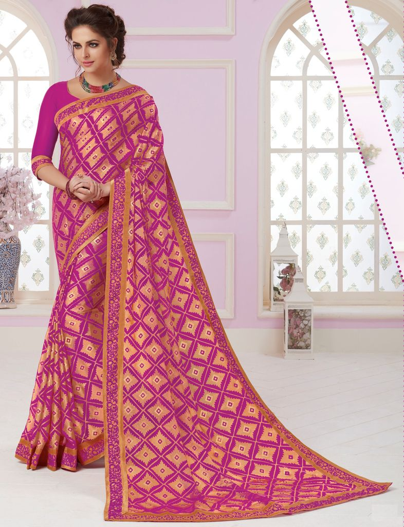Rani Pink Color Chiffon Party & Function Wear Sarees :  Praniti Collection  NYF-2285 - YellowFashion.in