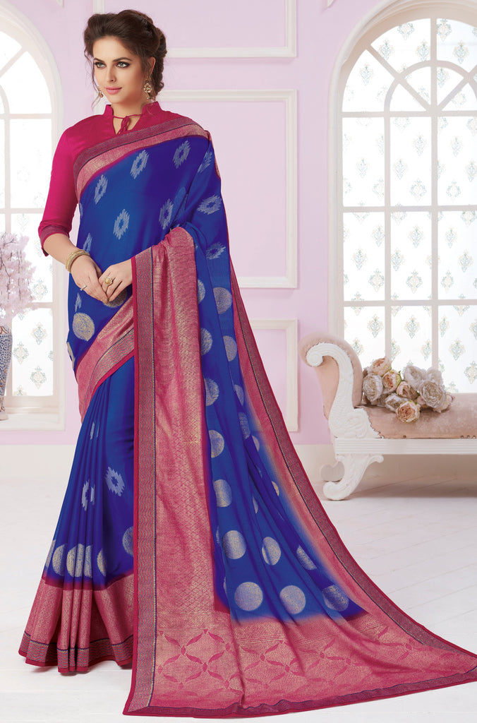Blue Color Linen Cotton Party & Function Wear Sarees :  Praniti Collection  NYF-2286 - YellowFashion.in