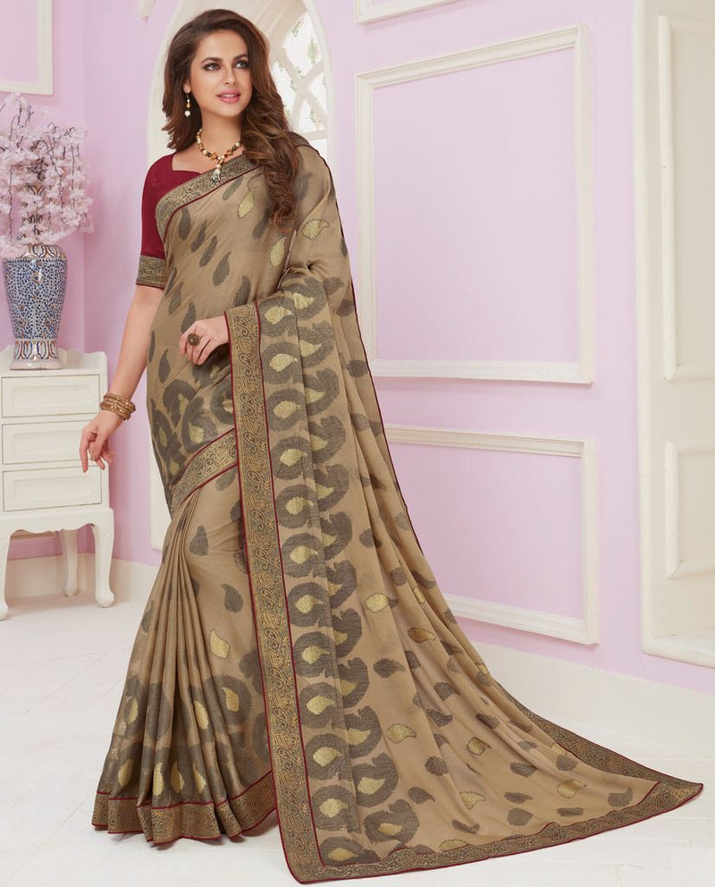 Beige Color Linen Cotton Party & Function Wear Sarees :  Praniti Collection  NYF-2287 - YellowFashion.in