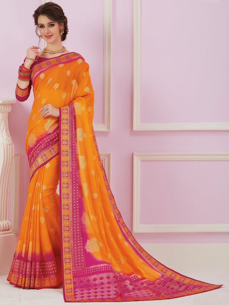 Yellow & Pink Color Chiffon Party & Function Wear Sarees :  Praniti Collection  NYF-2288 - YellowFashion.in