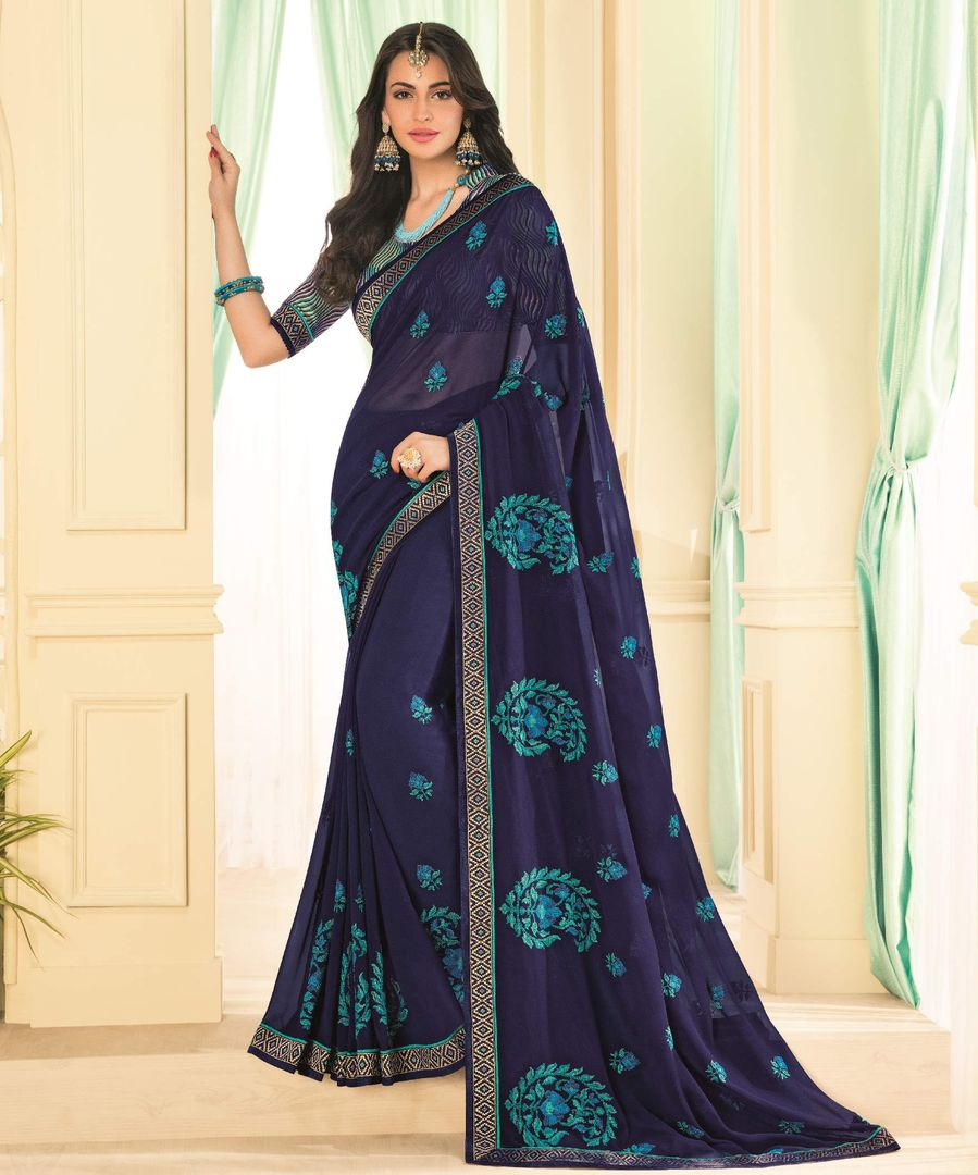 Blue Color Chiffon Party & Function Wear Sarees : Abhima Collection  NYF-2353 - YellowFashion.in
