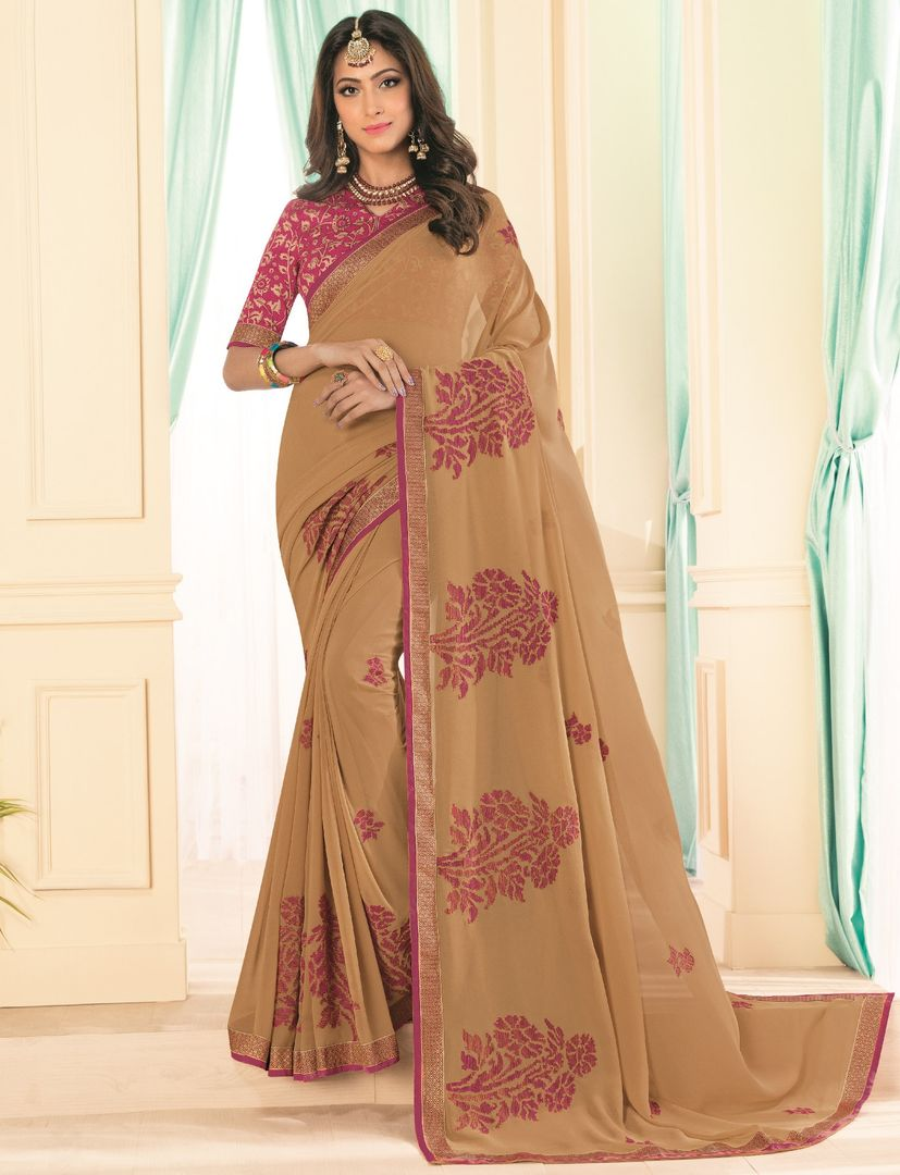 Beige Color Chiffon Party & Function Wear Sarees : Abhima Collection  NYF-2354 - YellowFashion.in