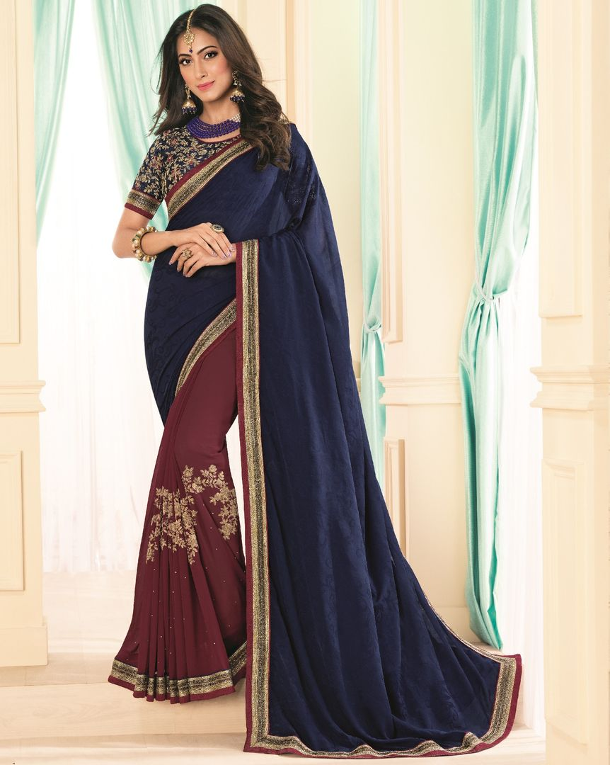 Blue & Maroon Color Chiffon Party & Function Wear Sarees : Abhima Collection  NYF-2357 - YellowFashion.in