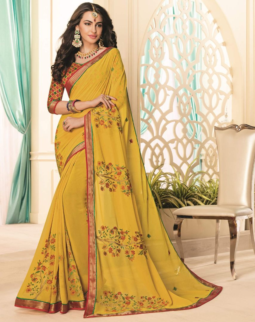 Yellow Color Georgette Party & Function Wear Sarees : Abhima Collection  NYF-2360 - YellowFashion.in
