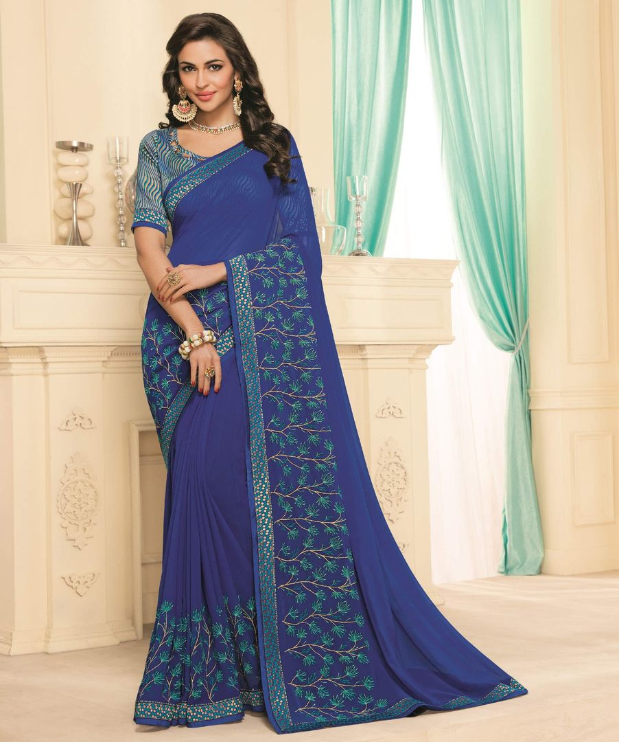 Ink Blue Color Chiffon Party & Function Wear Sarees : Abhima Collection  NYF-2361 - YellowFashion.in