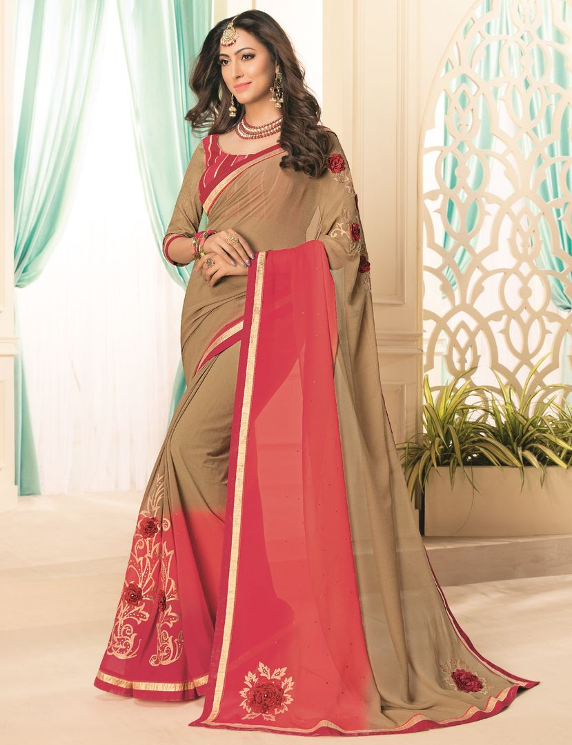 Beige & Pink Color Chiffon Party & Function Wear Sarees : Abhima Collection  NYF-2366 - YellowFashion.in