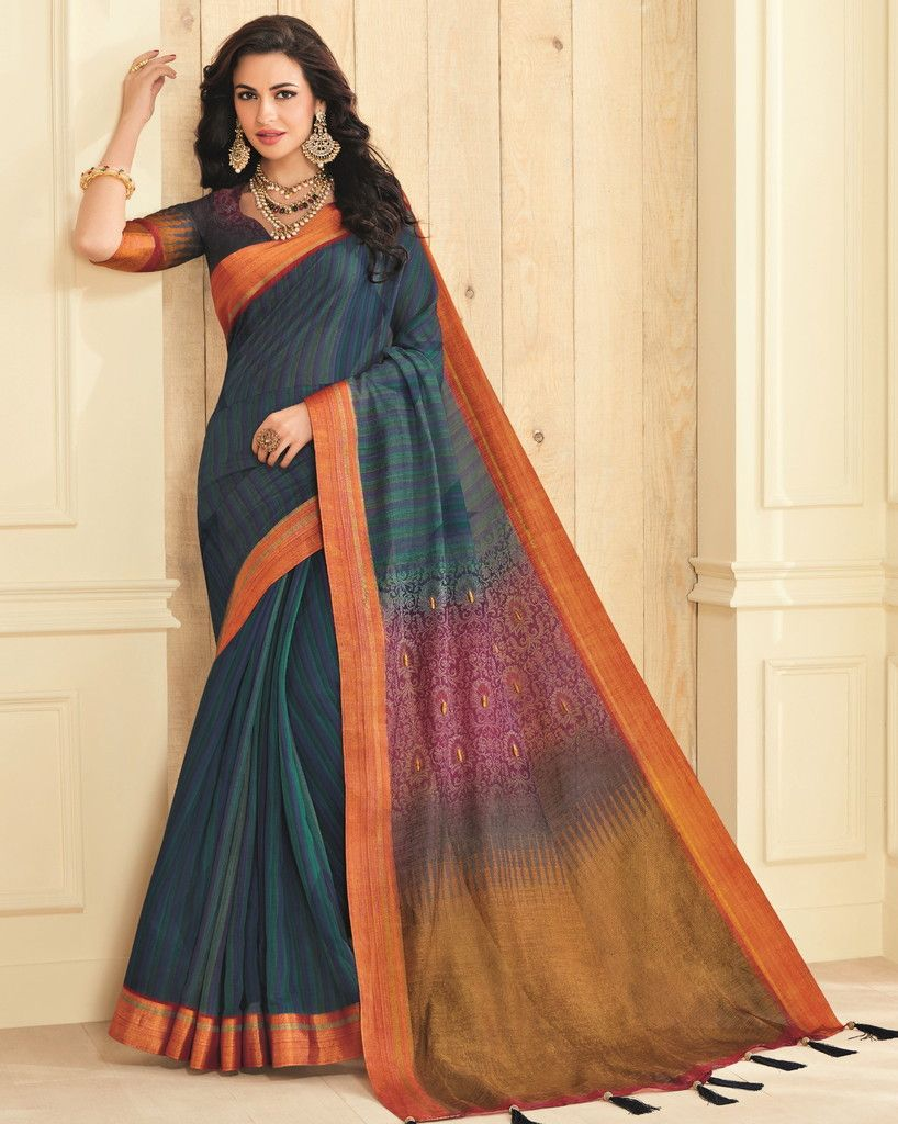 Blue Color Cotton Silk Designer Festive Sarees : Preshan Collection  NYF-2087 - YellowFashion.in