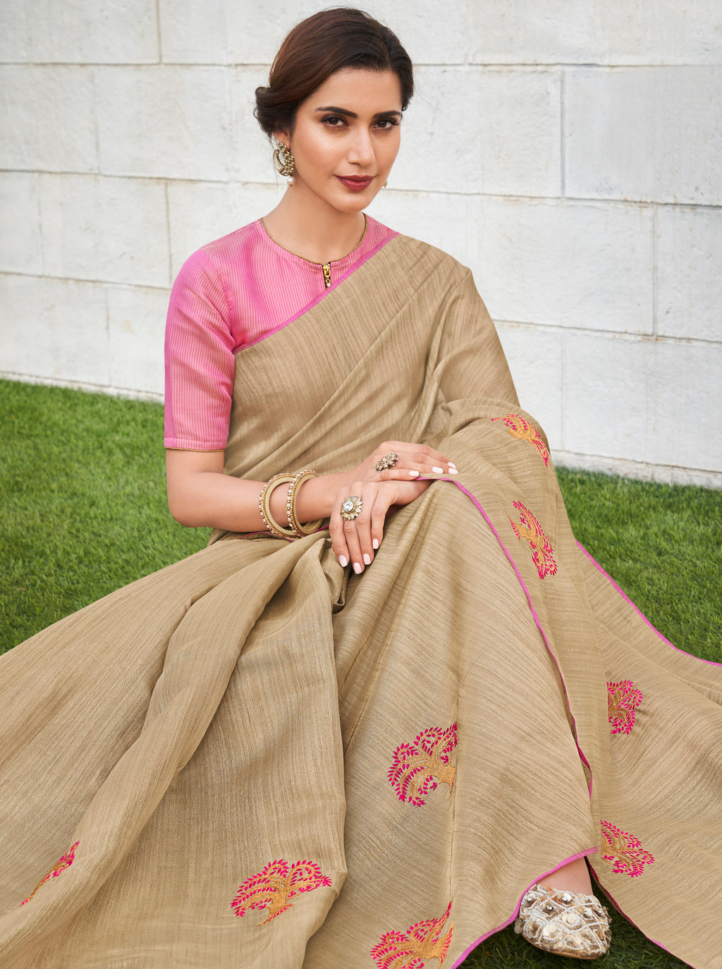 Beige Color Banarasi Cotton Silk  Sarees For Newly Wedded NYF-5699