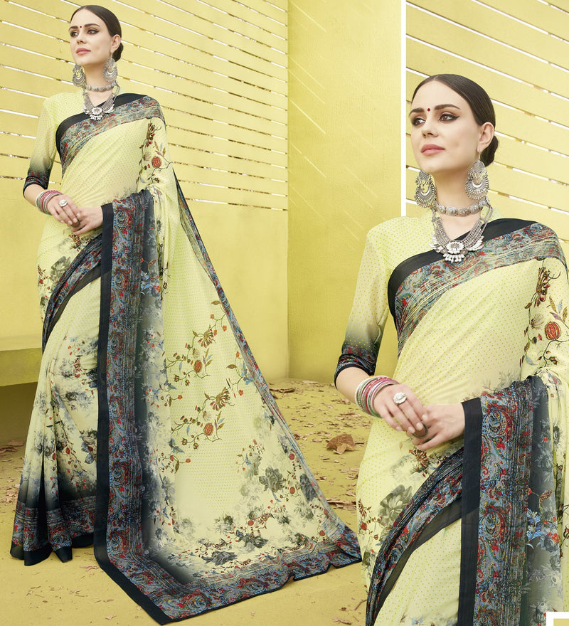 Pastel Green Color Fine Georgette Digital Print Designer Function Wear Sarees : Gaurika Collection  NYF-1438 - YellowFashion.in
