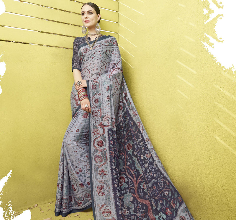Grey Color Fine Georgette Digital Print Designer Function Wear Sarees : Gaurika Collection  NYF-1439 - YellowFashion.in