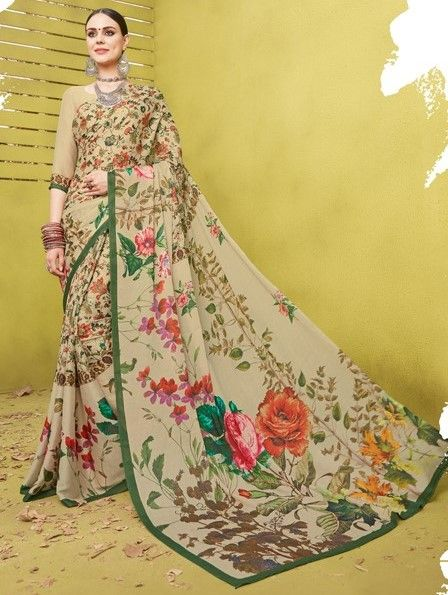 Multi Color Fine Georgette Digital Print Designer Function Wear Sarees : Gaurika Collection  NYF-1440 - YellowFashion.in