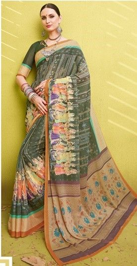 Green Color Fine Georgette Digital Print Designer Function Wear Sarees : Gaurika Collection  NYF-1441 - YellowFashion.in