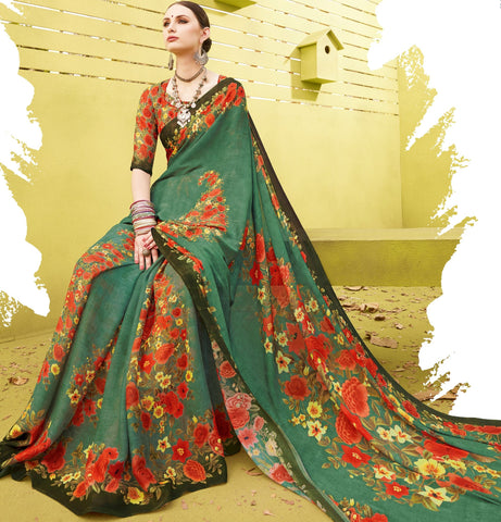 Green Color Fine Georgette Designer Digital Print Sarees : Mankiran Collection YF-70987