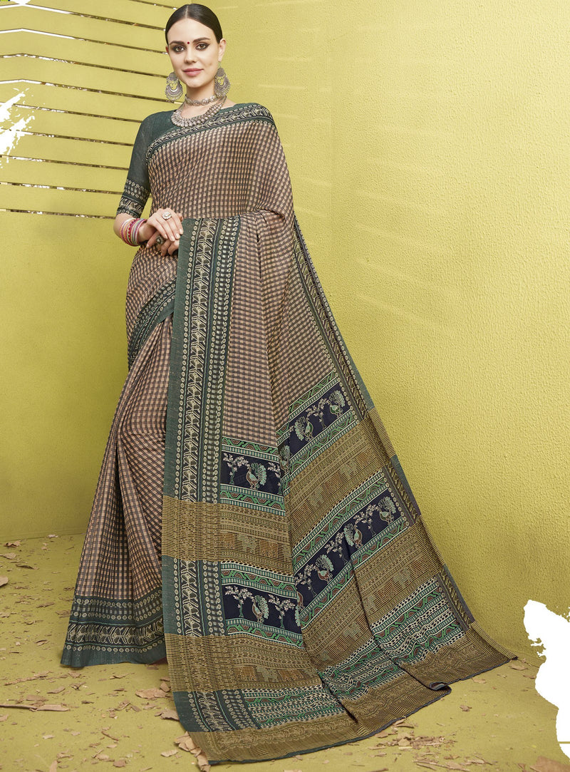 Brown Color Fine Georgette Digital Print Designer Function Wear Sarees : Gaurika Collection  NYF-1445 - YellowFashion.in