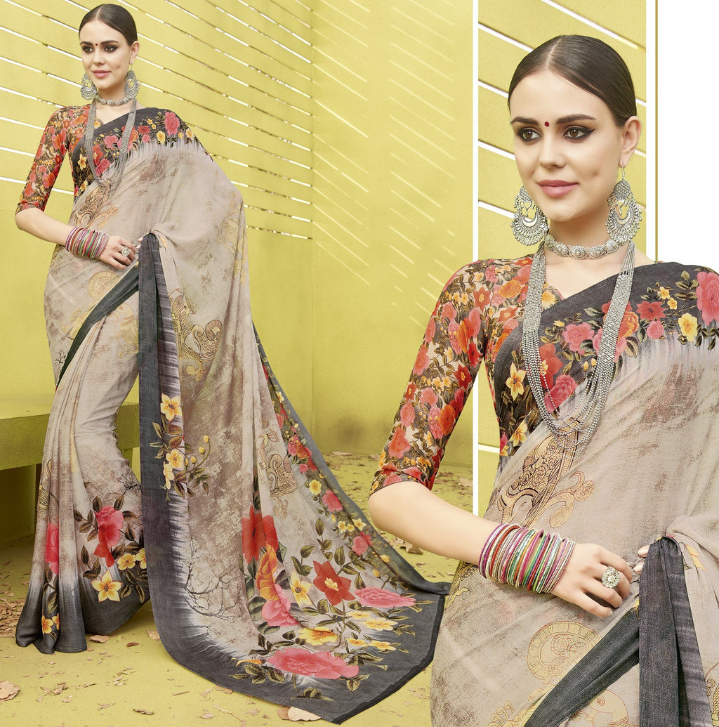 Multi Color Fine Georgette Digital Print Designer Function Wear Sarees : Gaurika Collection  NYF-1446 - YellowFashion.in