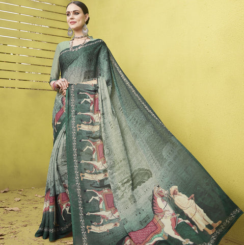 Light & Dark Green Color Fine Georgette Designer Digital Print Sarees : Mankiran Collection YF-70991
