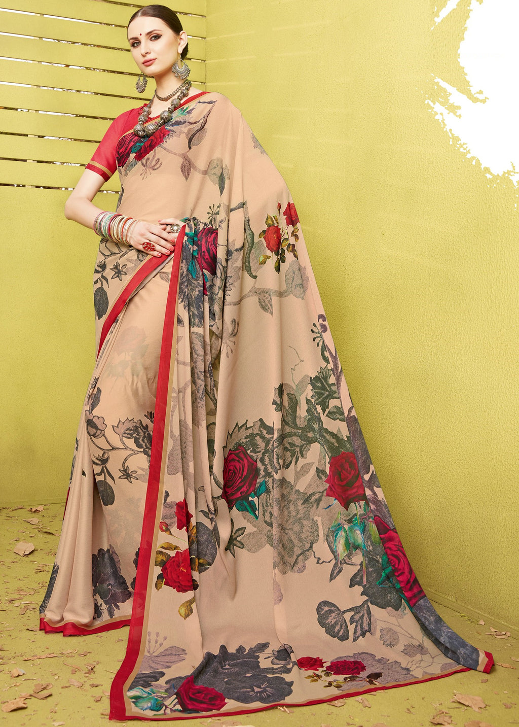 Peach Color Fine Georgette Digital Print Designer Function Wear Sarees : Gaurika Collection  NYF-1448 - YellowFashion.in