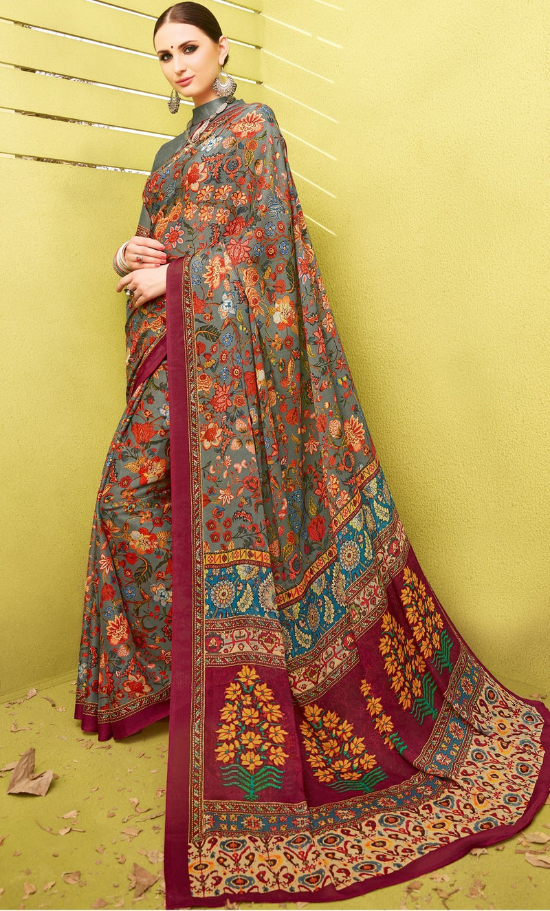 Multi Color Fine Georgette Digital Print Designer Function Wear Sarees : Gaurika Collection  NYF-1449 - YellowFashion.in
