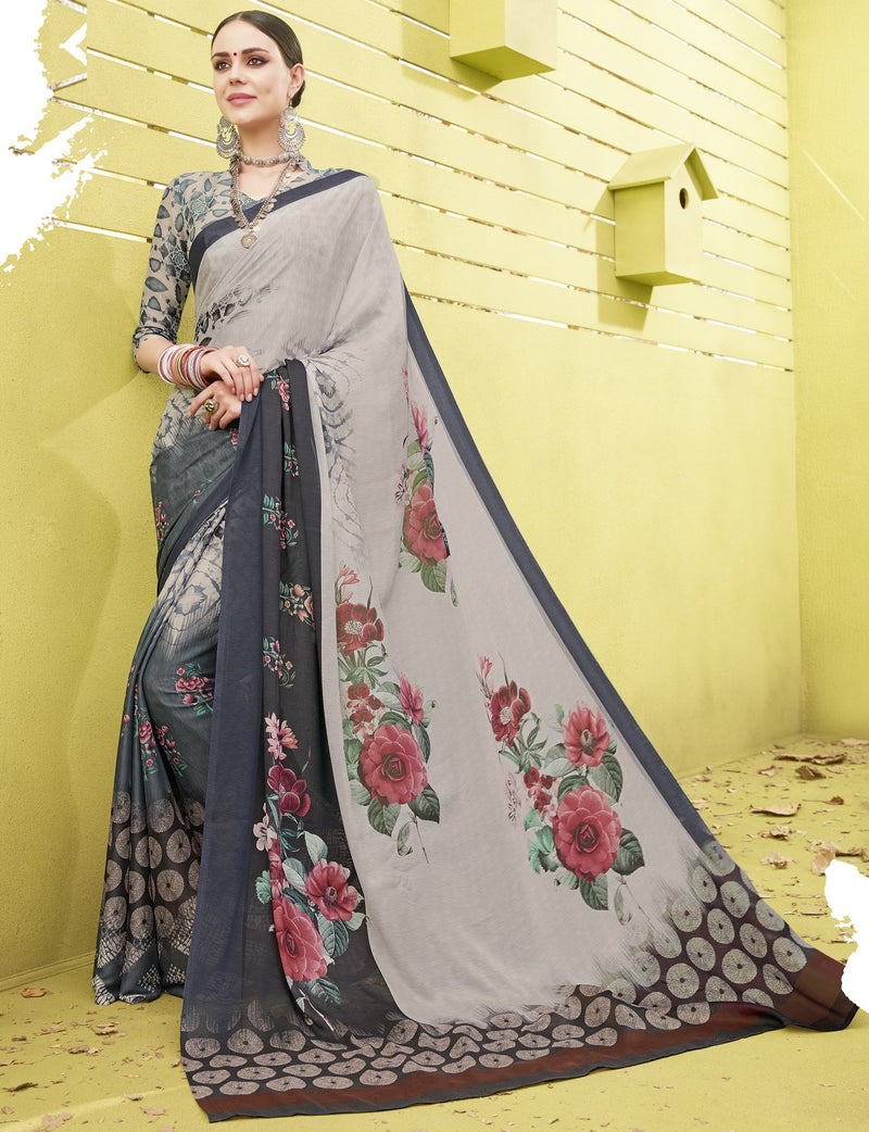 Multi Color Fine Georgette Digital Print Designer Function Wear Sarees : Gaurika Collection  NYF-1450 - YellowFashion.in
