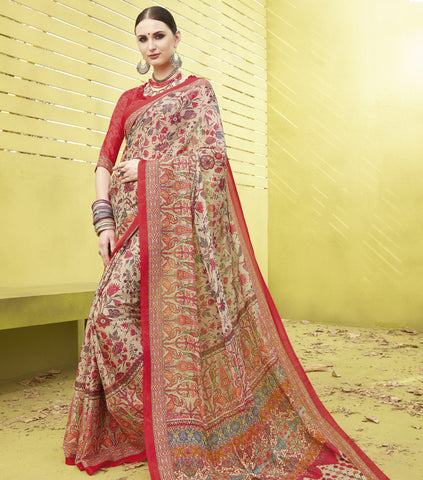 Light Coffee Color Fine Georgette Designer Digital Print Sarees : Mankiran Collection YF-70995