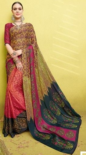 Multi Color Fine Georgette Digital Print Designer Function Wear Sarees : Gaurika Collection  NYF-1452 - YellowFashion.in