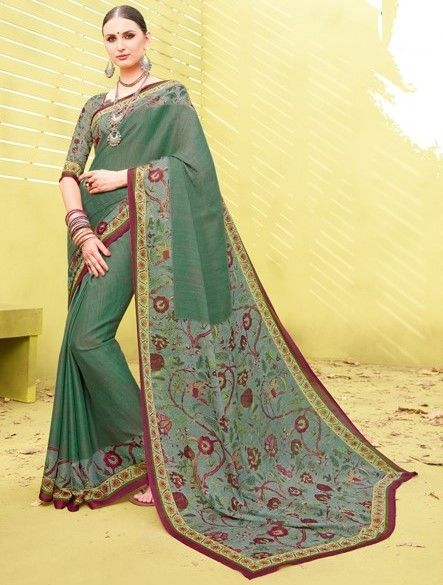 Green Color Fine Georgette Digital Print Designer Function Wear Sarees : Gaurika Collection  NYF-1453 - YellowFashion.in