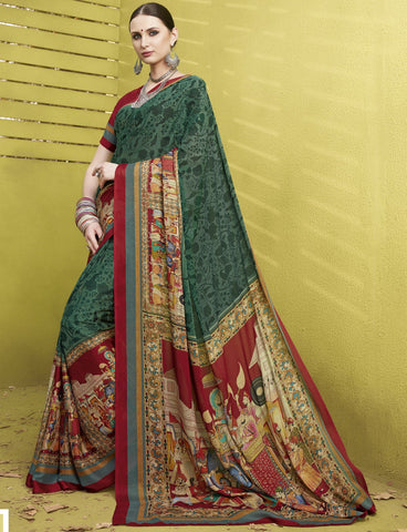 Green Color Fine Georgette Digital Print Designer Function Wear Sarees : Gaurika Collection  NYF-1454