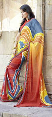 Orange  Colour  Georgette Material Sarees : Rangrez Collection -  YF-11050
