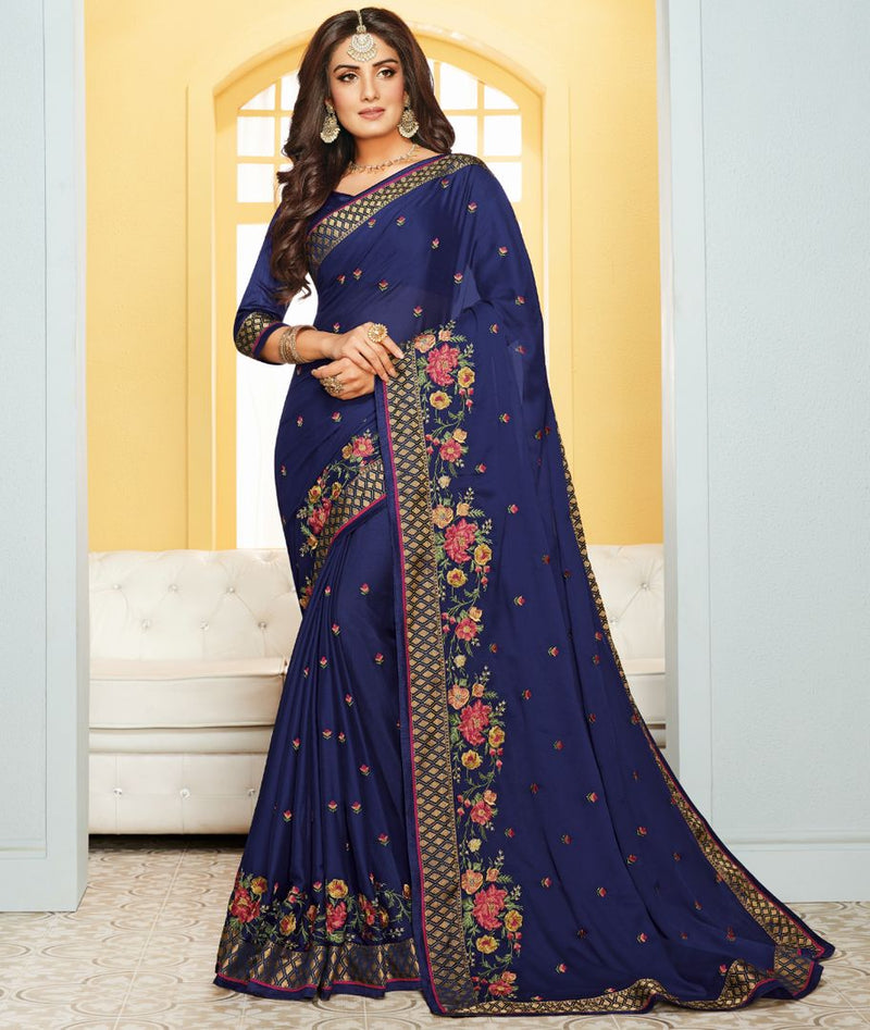 Blue Color Satin Party & Function Wear Sarees : Ranjita Collection  NYF-2427 - YellowFashion.in