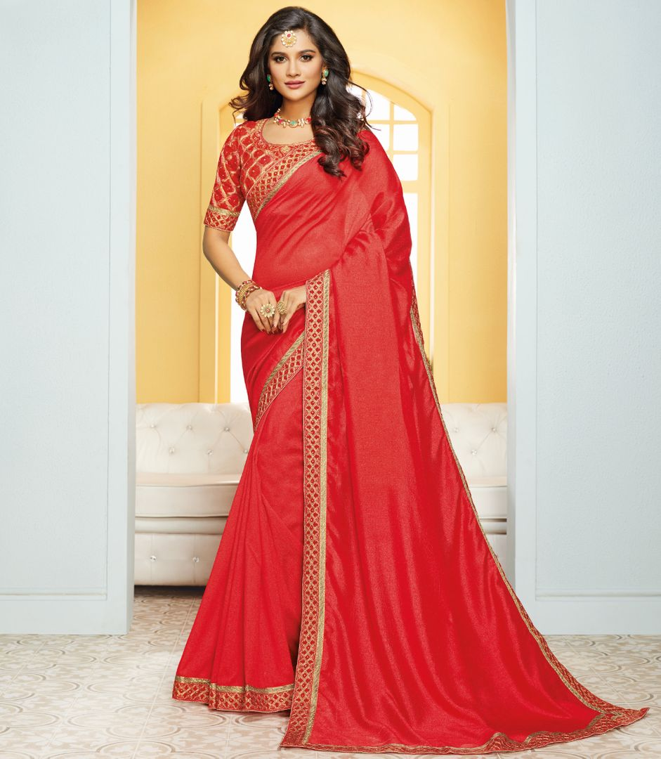 Red Color Crepe Silk Party & Function Wear Sarees : Ranjita Collection  NYF-2426 - YellowFashion.in