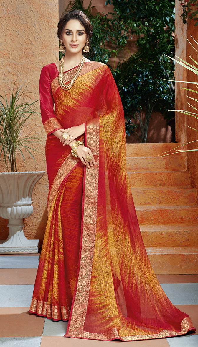 Red & Orange Color Georgette Kitty Party Sarees NYF-8397