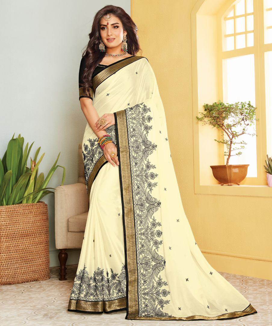 Off White Color Crepe Silk Party & Function Wear Sarees : Ranjita Collection  NYF-2430 - YellowFashion.in