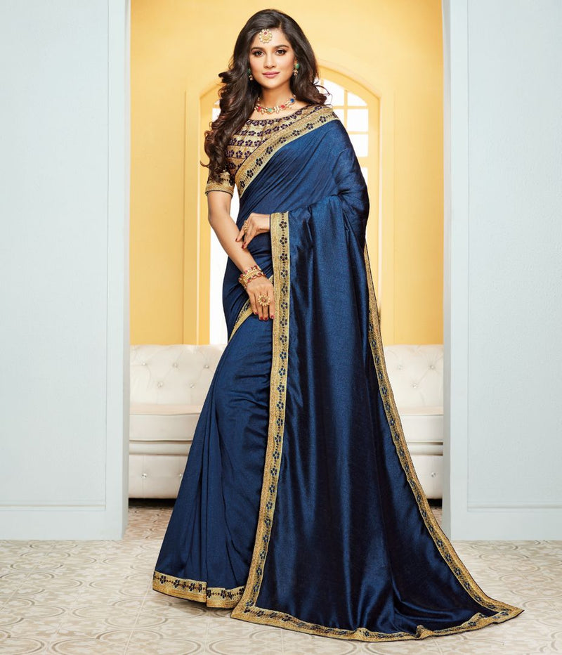 Blue Color Crepe Silk Party & Function Wear Sarees : Ranjita Collection  NYF-2431 - YellowFashion.in