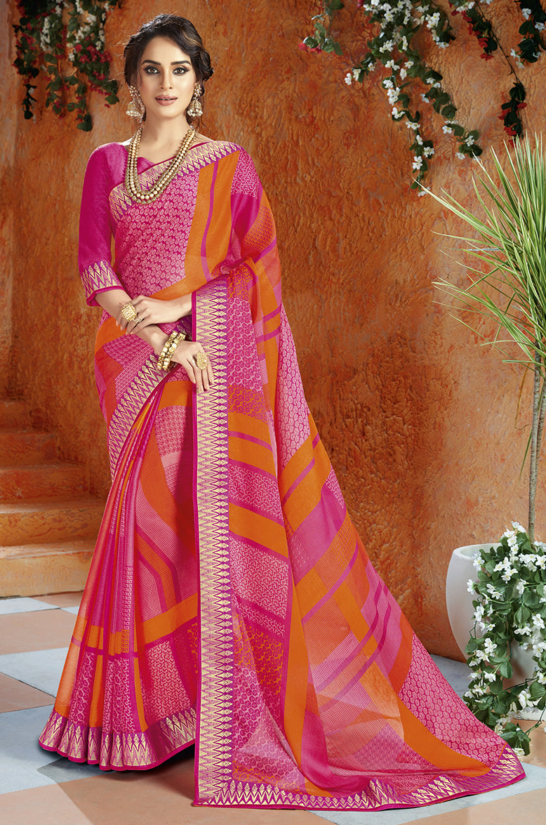 Pink & Orange Color Georgette Kitty Party Sarees NYF-8399
