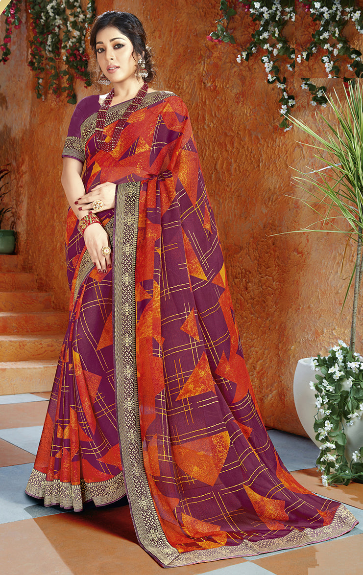 Orange & Purple Color Georgette Kitty Party Sarees NYF-8402