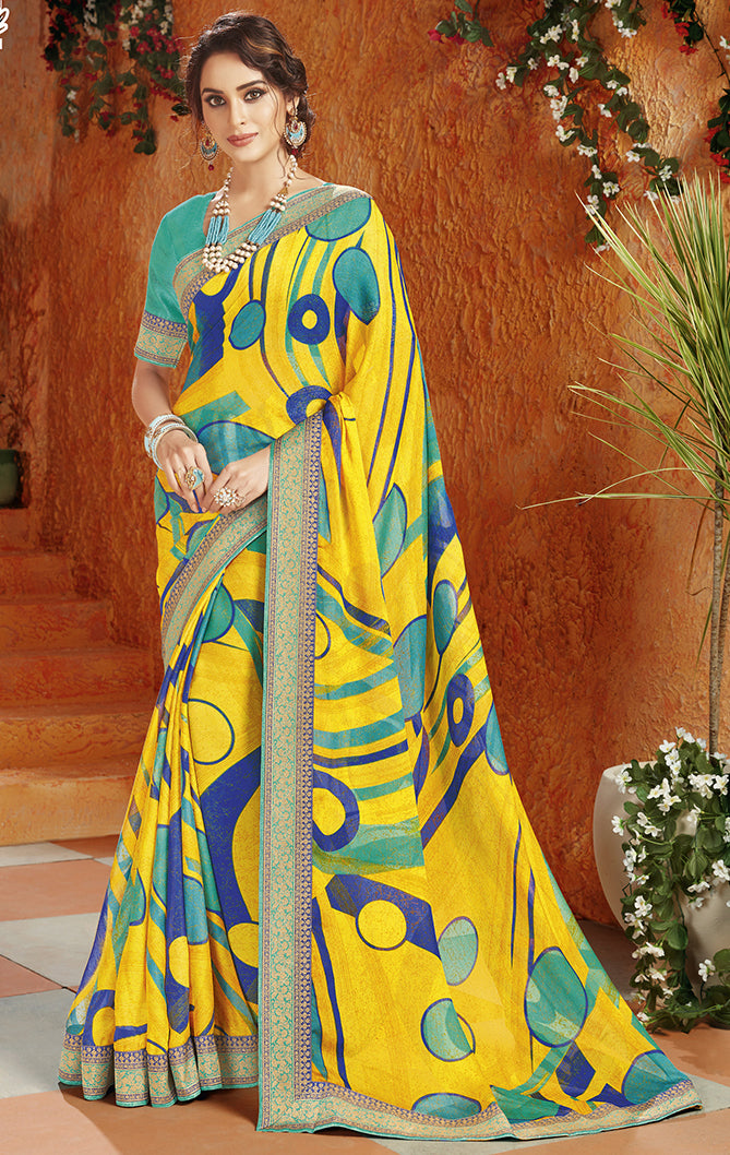 Yellow Color Georgette Kitty Party Sarees NYF-8403