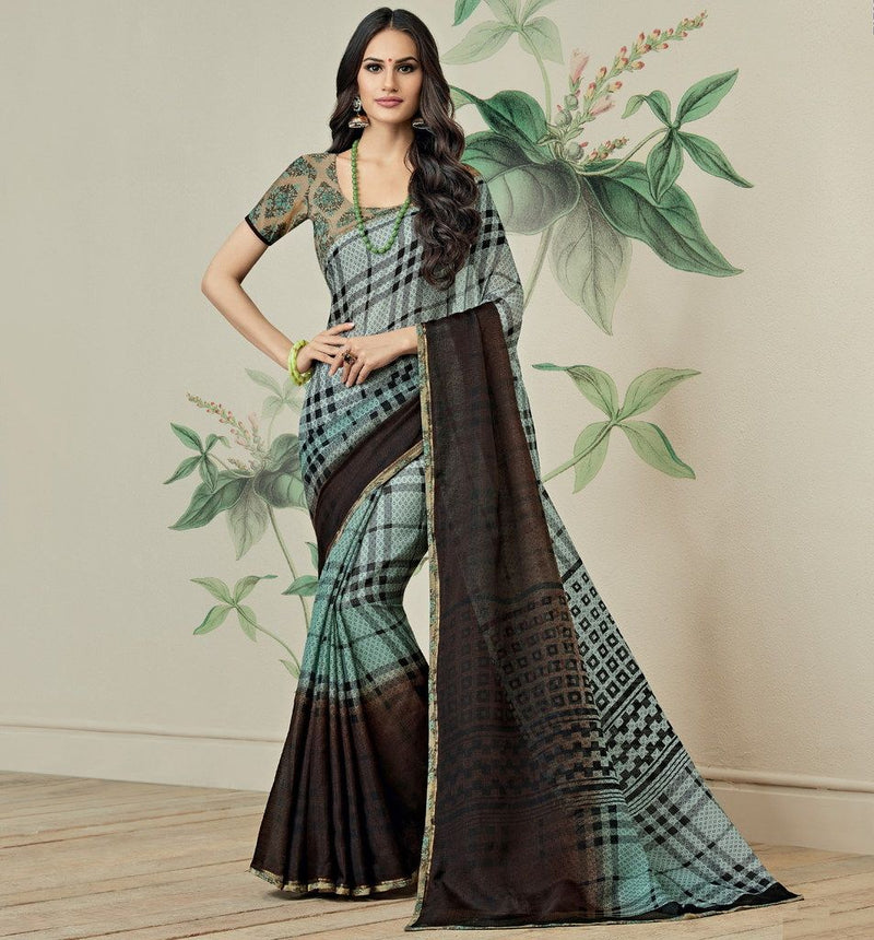 Aqua Blue & Brown Color Jute Art Silk Casual Party Sarees : Ambala Collection  NYF-2138 - YellowFashion.in