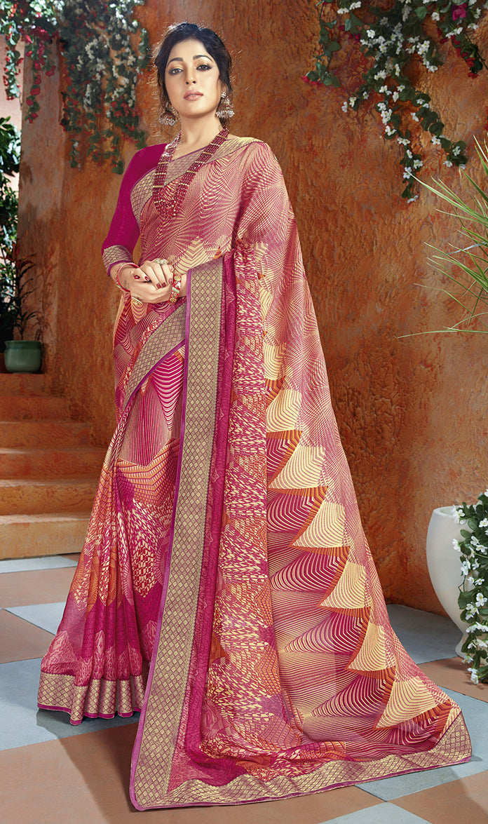 Pink Color Georgette Kitty Party Sarees NYF-8404