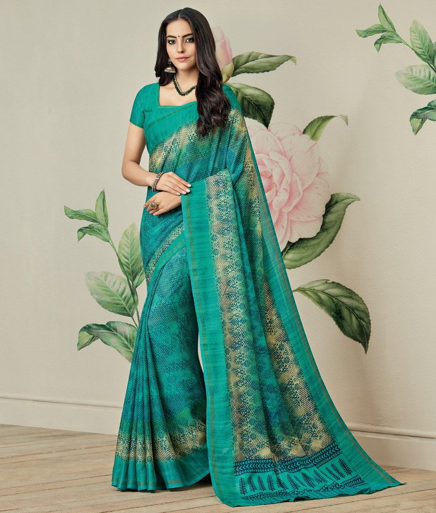 Sea Green Color Jute Art Silk Casual Party Sarees : Ambala Collection  NYF-2139 - YellowFashion.in