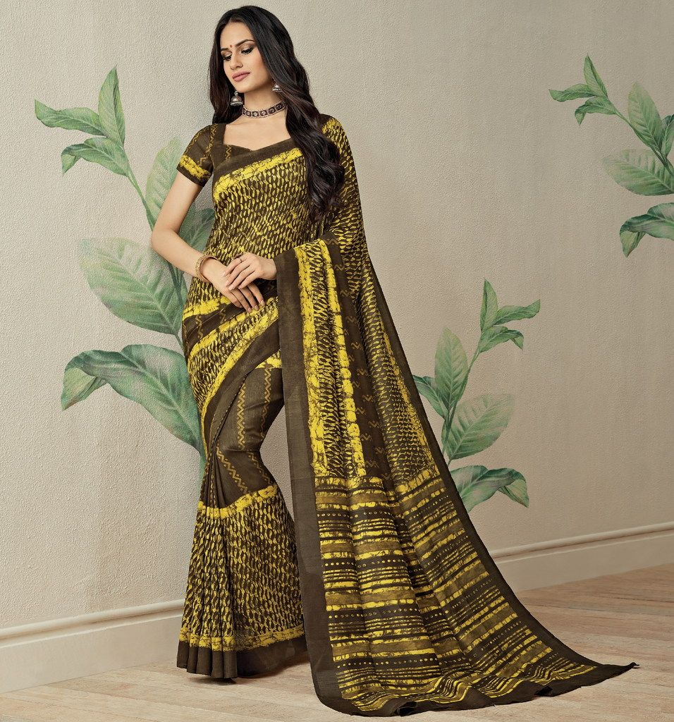 Brown & Yellow Color Jute Art Silk Casual Party Sarees : Ambala Collection  NYF-2145 - YellowFashion.in