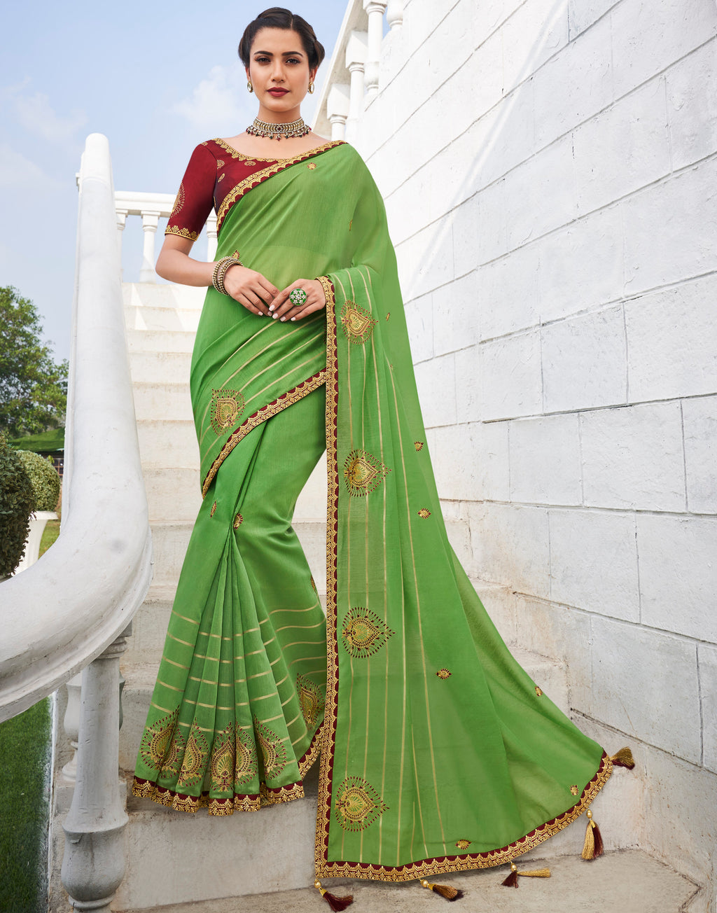 Green Color Banarasi Cotton Silk  Sarees For Newly Wedded NYF-5701