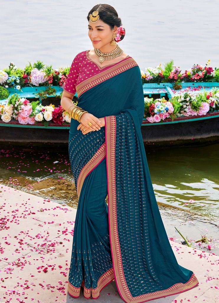 Blue Color Raw Silk Party & Function Wear Sarees :  Praniti Collection  NYF-2263 - YellowFashion.in