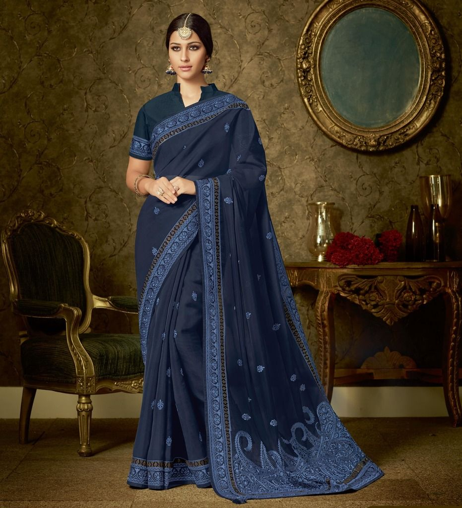 Navy Blue Color Organza Designer Festive Sarees : Manrisha Collection  NYF-1655 - YellowFashion.in